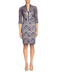 Karen Kane | Blue Split Neck Lace Dress | Lyst