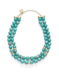 Anne Klein | Blue Stone Bead Two-row Collar Necklace | Lyst