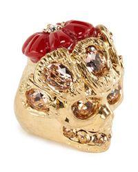Alexander McQueen - Metallic Crystal Skull Flower Ring - Lyst