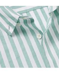 Hentsch Man - Green Button-Down Collar Striped Cotton Shirt for Men - Lyst