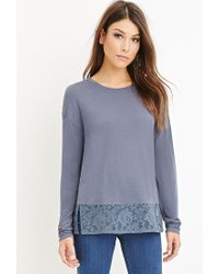 Forever 21 | Blue Lace-paneled Hem Top | Lyst