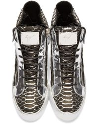 Giuseppe Zanotti - Black & Silver Croc-embossed High-top London Sneakers for Men - Lyst