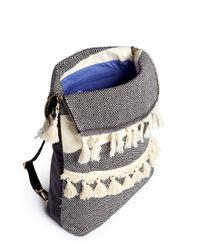Koza   Blue 'kim' Mini Fringe Tassel Leather Backpack   Lyst