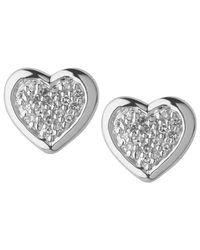 Links of London | Metallic Diamond Heart Stud Earrings | Lyst