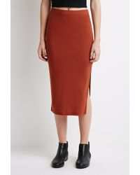 Forever 21 | Brown Slit Midi Skirt | Lyst