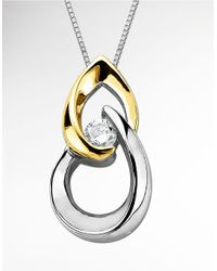 Lord & Taylor | Metallic Two Tone Pendant In Sterling Silver With 14 Kt. Yellow Gold | Lyst