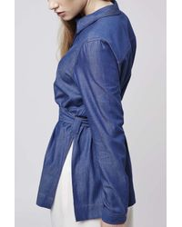 TOPSHOP | Blue Denim Tie Belted Shirt | Lyst