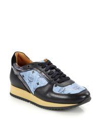 MCM - Blue Visetos Logo-print Leather Sneakers - Lyst