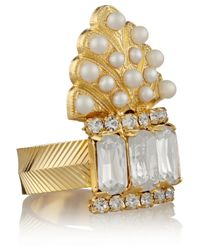 Elizabeth Cole - Metallic Adeline Gold-Plated, Swarovski Crystal And Glass Pearl Ring - Lyst