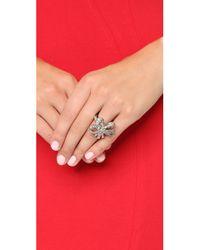 Oscar de la Renta | Metallic Floral Baguette Ring - Crystal/silver | Lyst