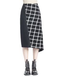Balenciaga - Black Asymmetric Tweed Staple Skirt - Lyst