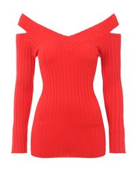 Jane Norman | Red Cold Shoulder Rib Jumper | Lyst