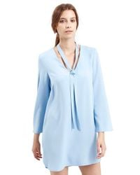 TOPSHOP - Blue Tie Neck Tunic Dress - Lyst
