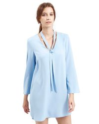 TOPSHOP | Blue Tie Neck Tunic Dress | Lyst