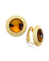 Lauren by Ralph Lauren - Metallic Goldtone Bezelset Tortoise Button Clipon Earrings - Lyst
