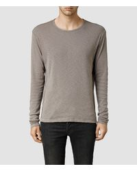 AllSaints | Gray Biedra Long Sleeve Crew for Men | Lyst
