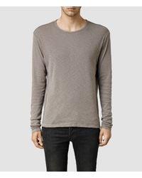 AllSaints | Gray Biedra Long Sleeve Crew for Men | Lyst