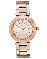 DKNY - Pink Ladies Glitz Stanhope Slim Watch - Lyst