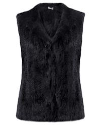 Yves Salomon | Black Hooded Fur Gilet | Lyst