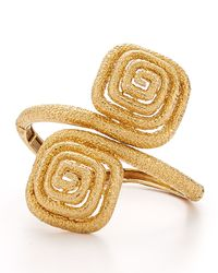 Fred Leighton | Metallic Estate Vintage 18K Yellow Gold Textured Bypass Cuff Bracelet | Lyst