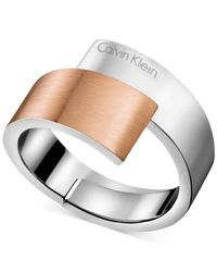 Calvin Klein | Gray Two-tone Bypass Ring | Lyst