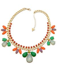 Guess | Multicolor Gold-tone Multi-stone Statement Necklace | Lyst