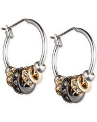 Nine West | Metallic Tri-tone Slider Hoop Earrings | Lyst
