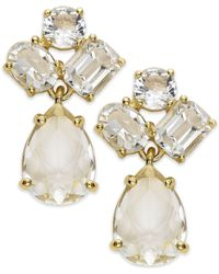 kate spade new york | White New York Earrings, Gold-Tone Crystal Cluster Drop Earrings | Lyst