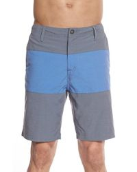 Volcom - Blue 'papago' Colorblock Hybrid Shorts for Men - Lyst