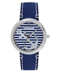 Sperry Top-Sider - Blue 'sandbar' Anchor Dial Leather Strap Watch - Lyst