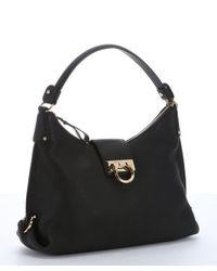 Ferragamo - Black Calfskin Medium 'Fanisa' Hobo Bag - Lyst