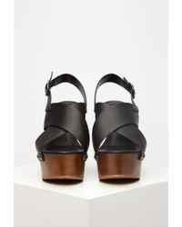 Forever 21 - Black Crisscross Wedge Slingback Sandals - Lyst