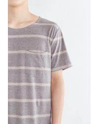 BDG | Gray Control Stripe Wide Neck Standard-fit Pocket Tee for Men | Lyst