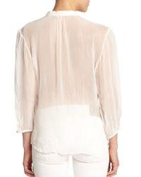 Polo Ralph Lauren - Natural Silk Ruffled Blouse - Lyst