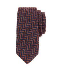 Ted Baker - Orange Herringbone Pattern Tie for Men - Lyst