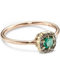 Annina Vogel - Green 9ct Rose-gold Rose-cut Diamond Emerald Cluster Ring - Lyst