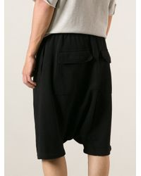 DRKSHDW by Rick Owens - Black Dropped Crotch Track Shorts for Men - Lyst