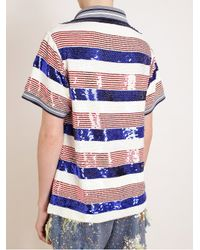 Ashish | Blue Sequin Embellished Polo Top | Lyst