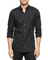 Calvin Klein | Black Cotton Sportshirt for Men | Lyst