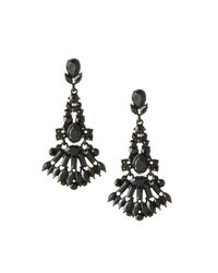 Lydell NYC - Jet Black Crystal Chandelier Earrings - Lyst