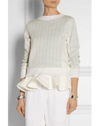 Sacai | White Luck Ruffled Cotton And Linen-Blend Sweater | Lyst