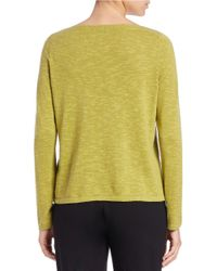 Eileen Fisher - Green Iris Linen And Cotton Ballet-neck Sweater - Lyst