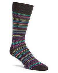 Bugatchi - Gray Stripe Socks for Men - Lyst