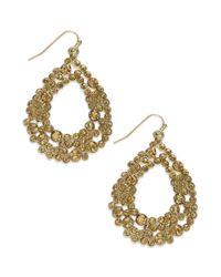 INC International Concepts - Metallic Gold-tone Stone-encrusted Teardrop Earrings - Lyst