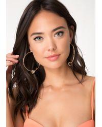 Bebe | Metallic Baguette Hoop Earrings | Lyst