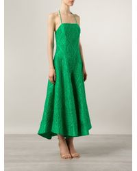 Rosie Assoulin - Green Embroidered Wide Leg Jumpsuit - Lyst