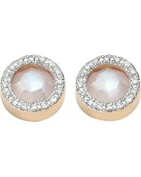 Monica Vinader | Metallic Diva Circle Stud 18Ct Rose Gold Vermeil, Moonstone And Diamond Earrings - For Women | Lyst