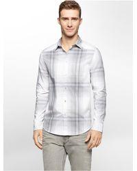 Calvin Klein - Gray Jeans Slim Fit Ombre Plaid Shirt for Men - Lyst