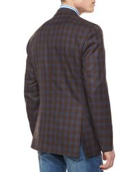 Kiton | Brown Twill Plaid Blazer for Men | Lyst