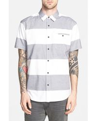 ourCaste - Blue 'camden' Trim Fit Short Sleeve Print Oxford Shirt for Men - Lyst